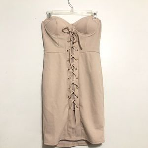 Nude corset lace up party dress